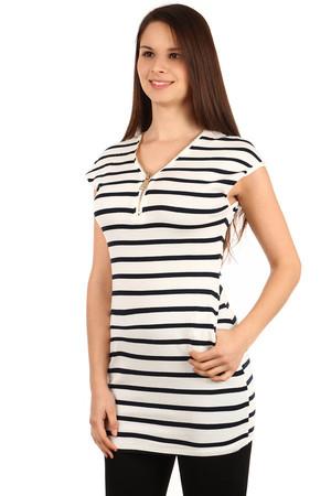 ae2fa611f Dlhé dámske bavlnené pruhované tričko s krátkym rukávom