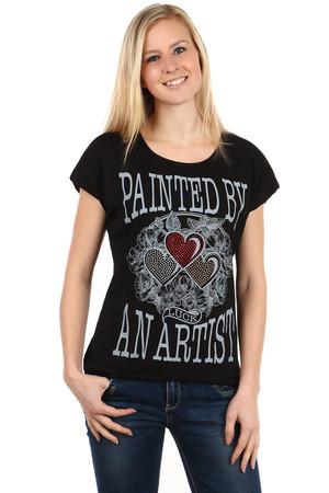 85edbd06d Luxusné krátke čierne bavlnené elegantné tričká s nápisom s krátkym ...