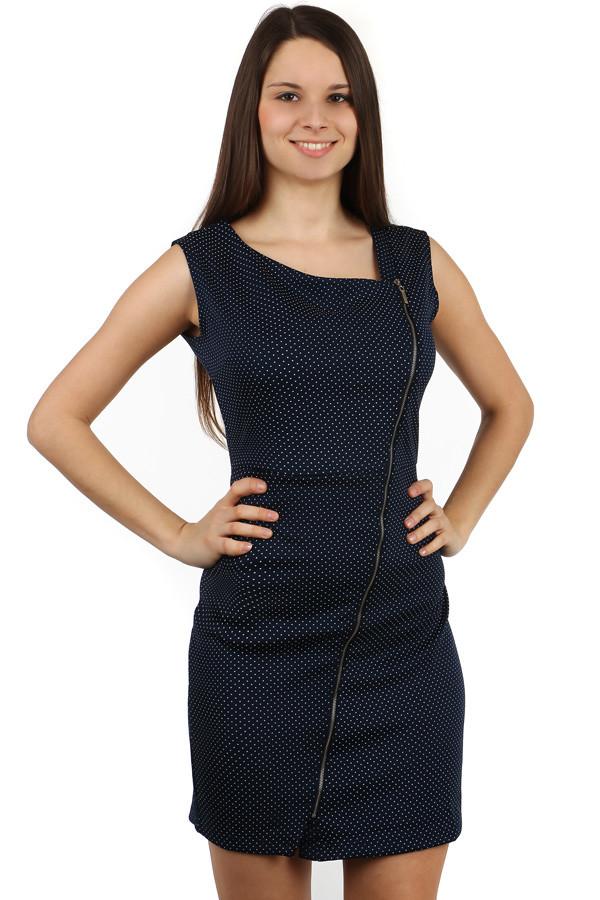 65c76e14ac6d Dámske krátke bodkované šaty so zipsom a širokými ramienkami