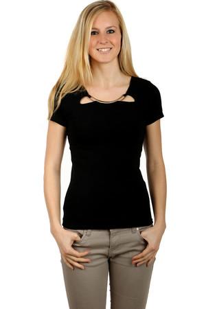 f762d6ba0 Čierne elegantné tričká s krátkym rukávom bez potlače s okrúhlym ...