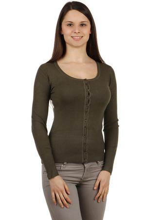 d271af398a03 Elegantný sveter s dlhým rukávom a na gombíky
