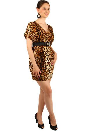 Krátke dámske leopardie šaty s opaskom b3264a36e7d