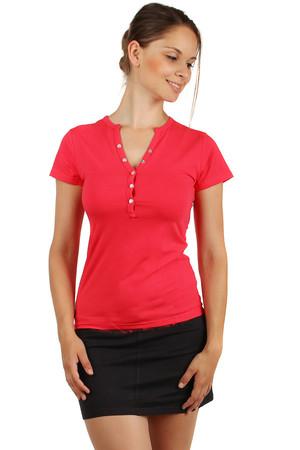 f15a291daf03 Lacné dámske červené bavlnené tričká s krátkym rukávom bez potlače s ...