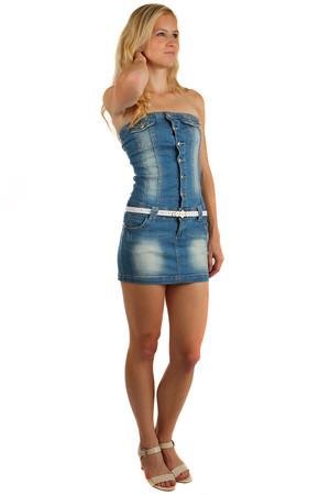 77937cbd1 Riflové zapínacie šaty bez ramienok