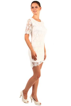 914f1ccdb7c9 Lacné dámske biele šaty s čipkou s krátkym rukávom xl