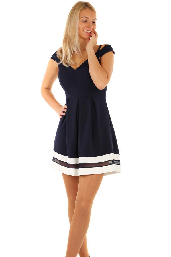 Krátke plesové šaty s kontrastným lemom  0564aae6137