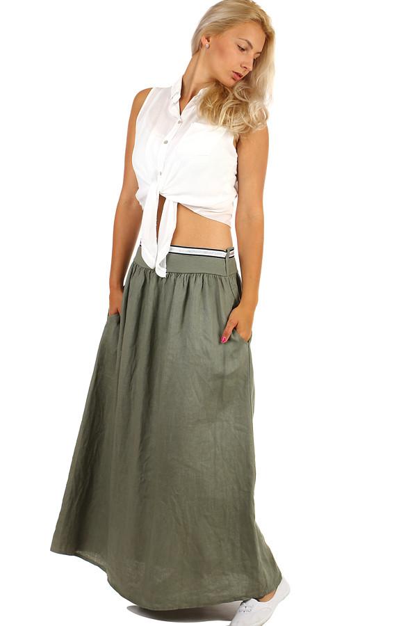 eeacd3f86 Dlhá dámska ľanová sukňa s vreckami | Glara.sk
