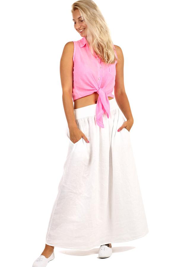 b78002049187 Dlhá dámska ľanová sukňa s vreckami