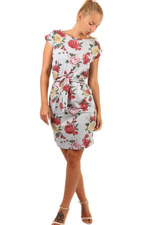 Sivé bavlnené šaty kvetované pre plnoštíhle výpredaj  807fc76e27e