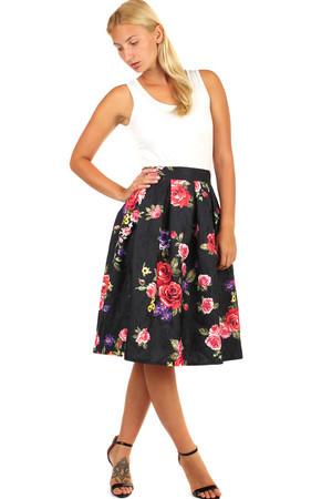 b035611b73cf Dámska áčková polokruhová sukňa s kvetovanou potlačou