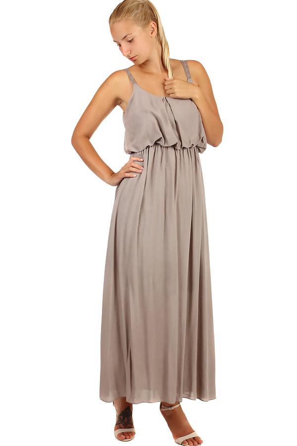 7c404e8439ef Jednofarebné maxi šaty s čipkovanými ramienkami