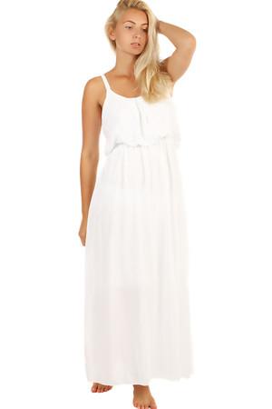 b277e6e13e9e Jednofarebné maxi šaty s čipkovanými ramienkami