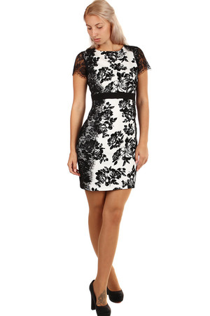 Spoločenské šaty s kvetinovou potlačou a čipkou 3faea9d4c58
