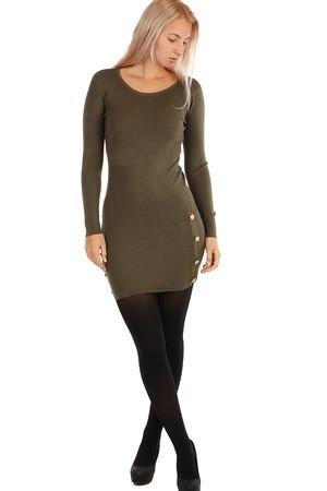 0a1f2ed12499 Krátke pletené šaty s dlhými rukávmi