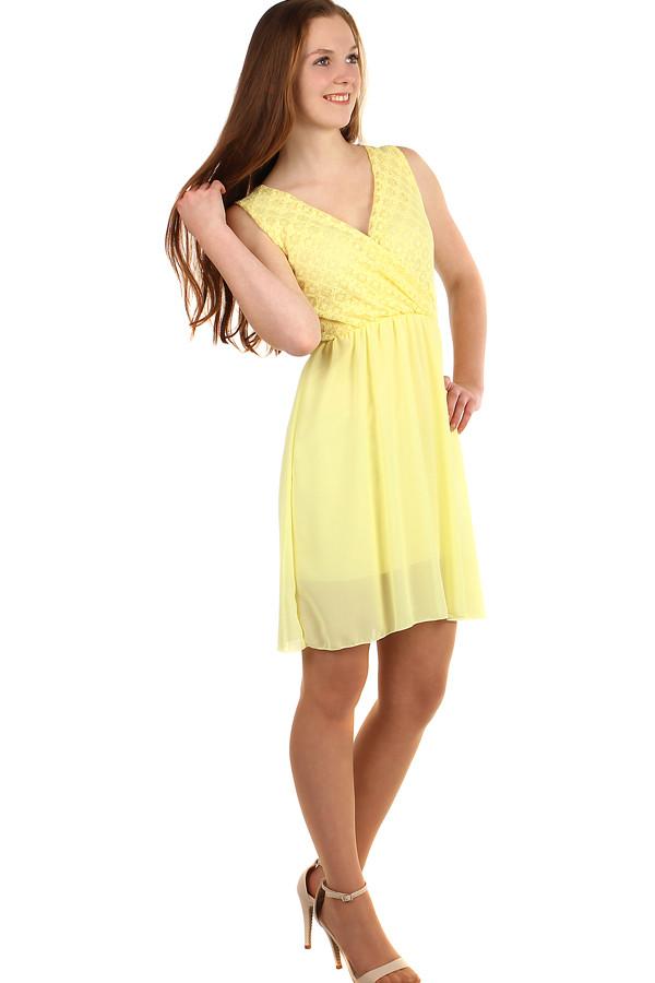 Krátke šifónové šaty s krajkou  5beb354dec8