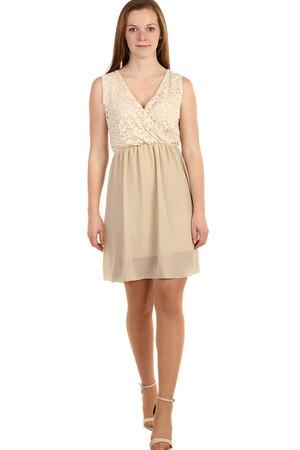 57fff389f615 Dámske krátke hnedé šaty s čipkou l novinky