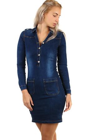 3936d8131d8d Lacné dámske modré džínsové šaty jednofarebné s