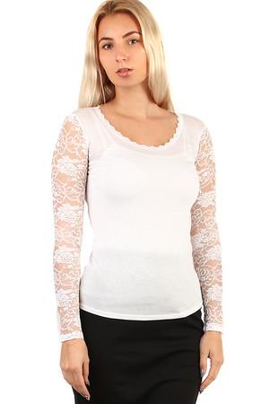 Luxusné dámske krátke biele tričká s čipkou s dlhým rukávom bez ... d58f6eb0850