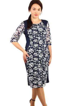 f1cd6b86022a Luxusné midi modré šaty s trojštvrťovým rukávom xl