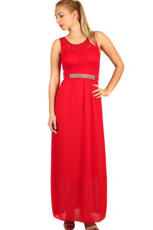 c1ef65fb9232 Dlhé večerné šaty s čipkovaným vrškom