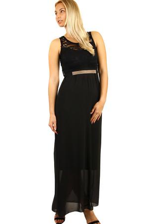 Dlhé večerné šaty s čipkovaným vrškom d3b72179f4f