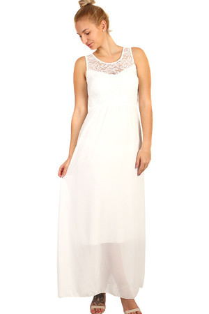 b40ea4856abf Dlhé večerné šaty s čipkovaným vrškom