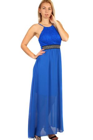 43ada7532e41 Šifónové šaty s čipkou na ples s úzkymi ramienkami