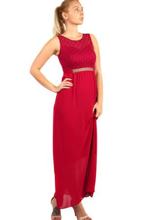 Dlhé plesové šaty s kamienkovou aplikáciou v páse e4afc9352e5