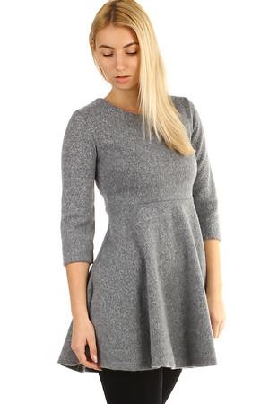 505e3b11be Krátke pletené dámske šaty s trojštvrťovom rukávom
