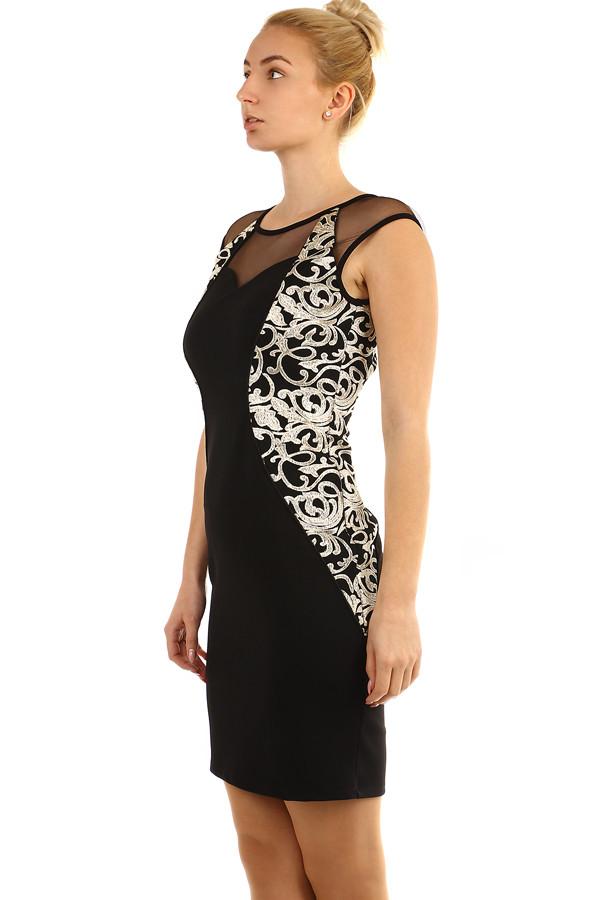 bdaf0f2266c4 Priliehavé čierne šaty so vzorom