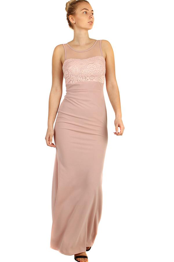 704a9be7dbb1 Dlhé plesové šaty s čipkovaným vrškom