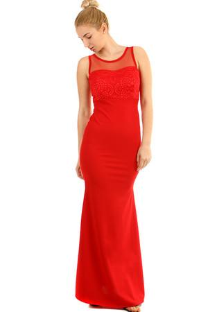 Dlhé plesové šaty s čipkovaným vrškom b6eab4ca18
