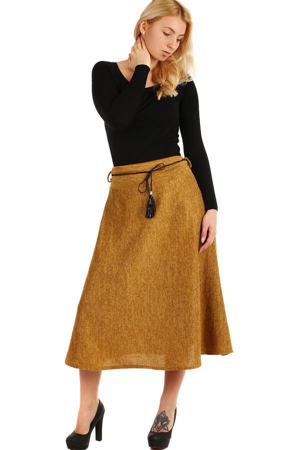 838ee608fdf5 Dlhá dámska úpletová sukňa s melírovaným vzorom
