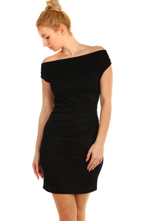 d5ba7998e380 Trblietavé večerné krátke šaty so širokými ramienkami