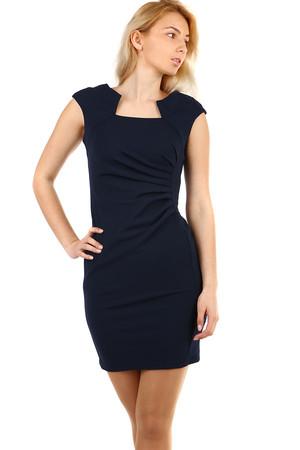 Lacné dámske krátke modré šaty jednofarebné s krátkym rukávom s ... 8fb02e4807b