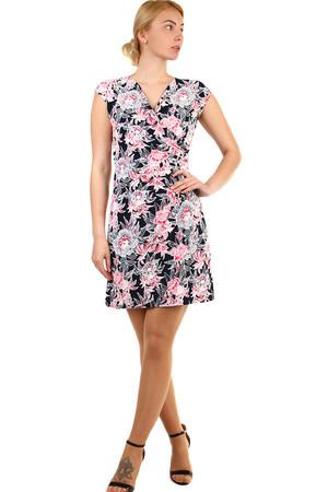 9c61712e6312 Krátke zavinovacie dámske šaty s kvetmi nadmerné veľkosti