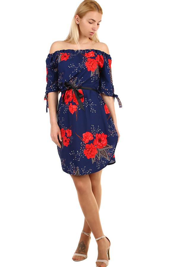 Letné dámske krátke šaty s odhalenými ramenami  0313ef8a835