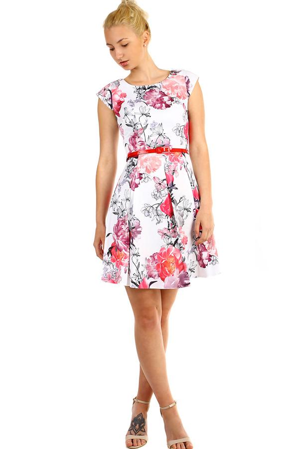 4464416201aa Áčkové dámske retro šaty s kvetinovou potlačou