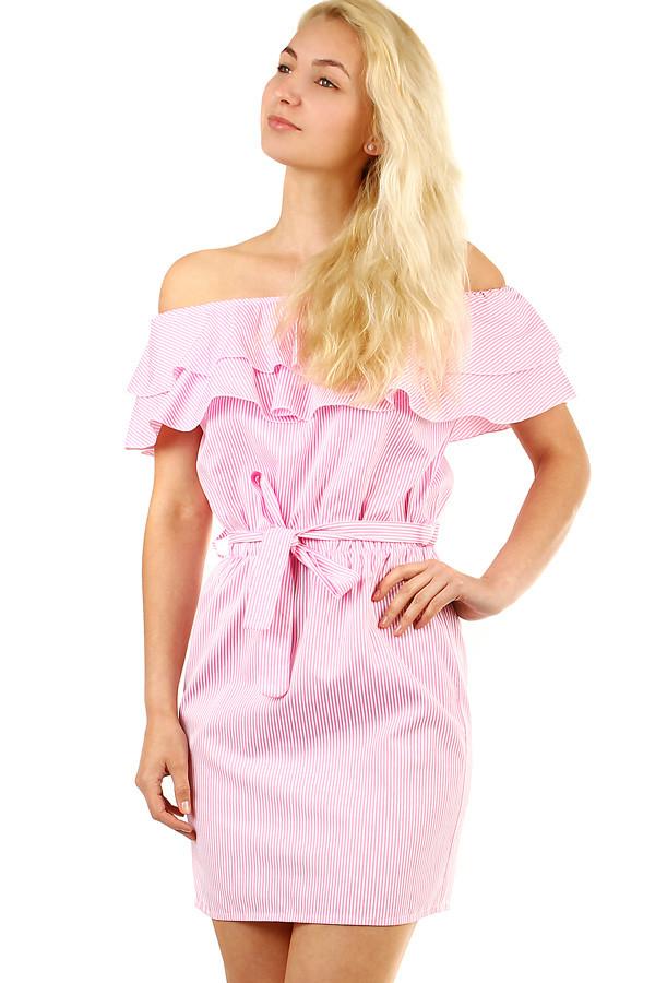 acbf7fcbda93 Letné prúžkované dámske šaty s volnánom
