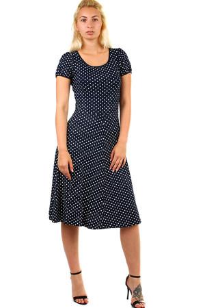 Lacné modré šaty bodkované s krátkym rukávom  2d60301c5d6