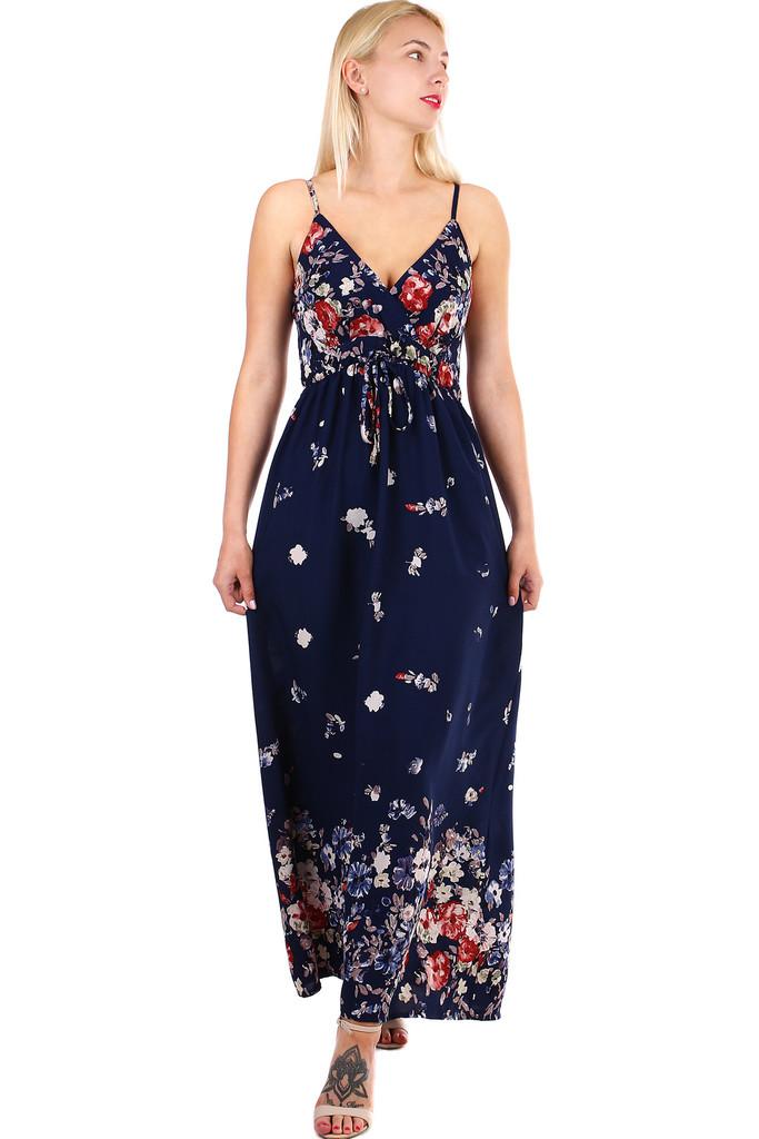 6a5248a80673 Dlhé dámske áčkové šaty s potlačou kvetín a úzkymi ramienkami