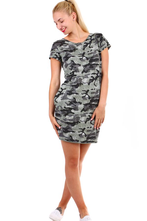 Krátke dámske šaty s army vzorom  01b667071e1
