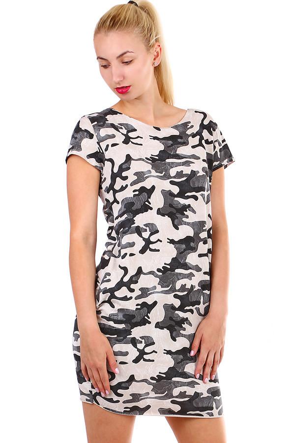 6af482fea111 Krátke dámske šaty s army vzorom