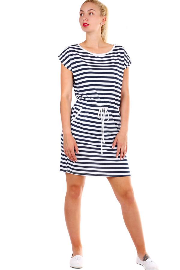 2b3508afc09f Bavlené dámske krátke pruhované šaty