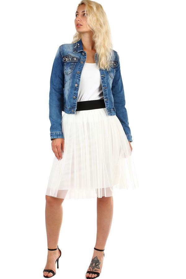tylová dámska midi sukňa s pružným pásom  74c077c408