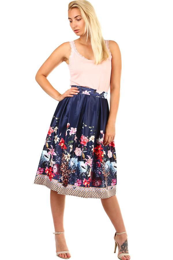 41061d587509 Dámska skladaná polokruhová retro sukňa s kvetinovou potlačou