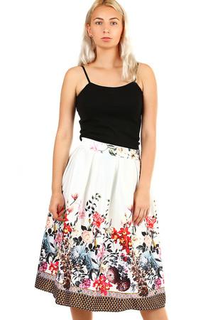 4f503e9dd8c1 Dámska skladaná polokruhová retro sukňa s kvetinovou potlačou