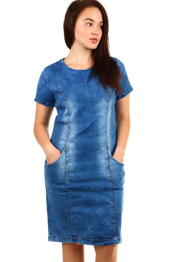 Krátke riflové šaty s krátkym rukávom  7be631ecf0
