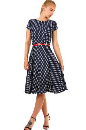 dc7c5d621f77 Lacné modré šaty bodkované s krátkym rukávom