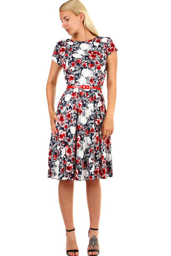 6cd7bedda1e5 Dámske kvetované retro šaty midi dĺžka